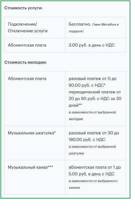 Стоимость услуги Замени Гудок Мегафона