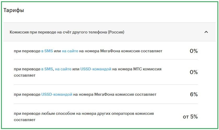 Тарифы на мобильные переводы МегаФона