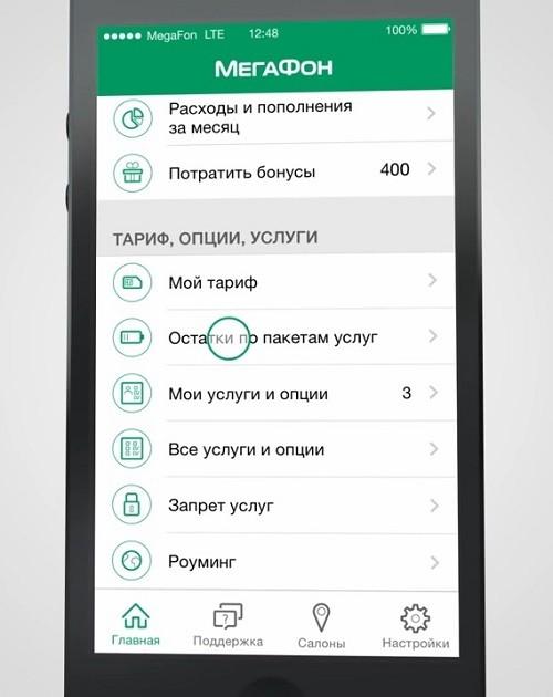 Остатки по пакетам услуг МегаФона в мобильном приложении