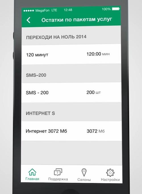 Остатки по пакетам услуг в мобильном приложении МегаФона