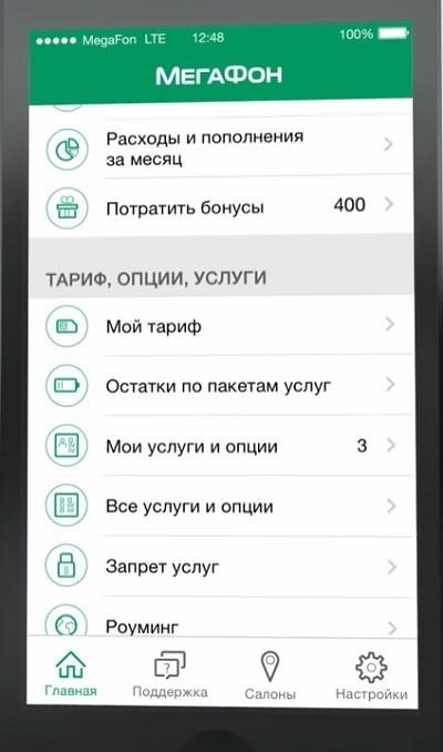 Остатки по пакетам услуг в мобильном приложении